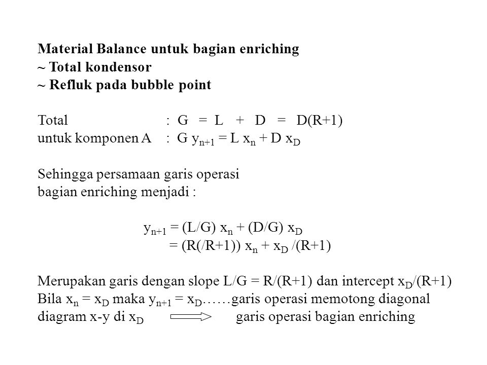 Material Balance untuk bagian enriching ~ Total kondensor ~ Refluk pada bubble point Total : G = L+ D = D(R+1) untuk komponen A : G y n+1 = L x n + D
