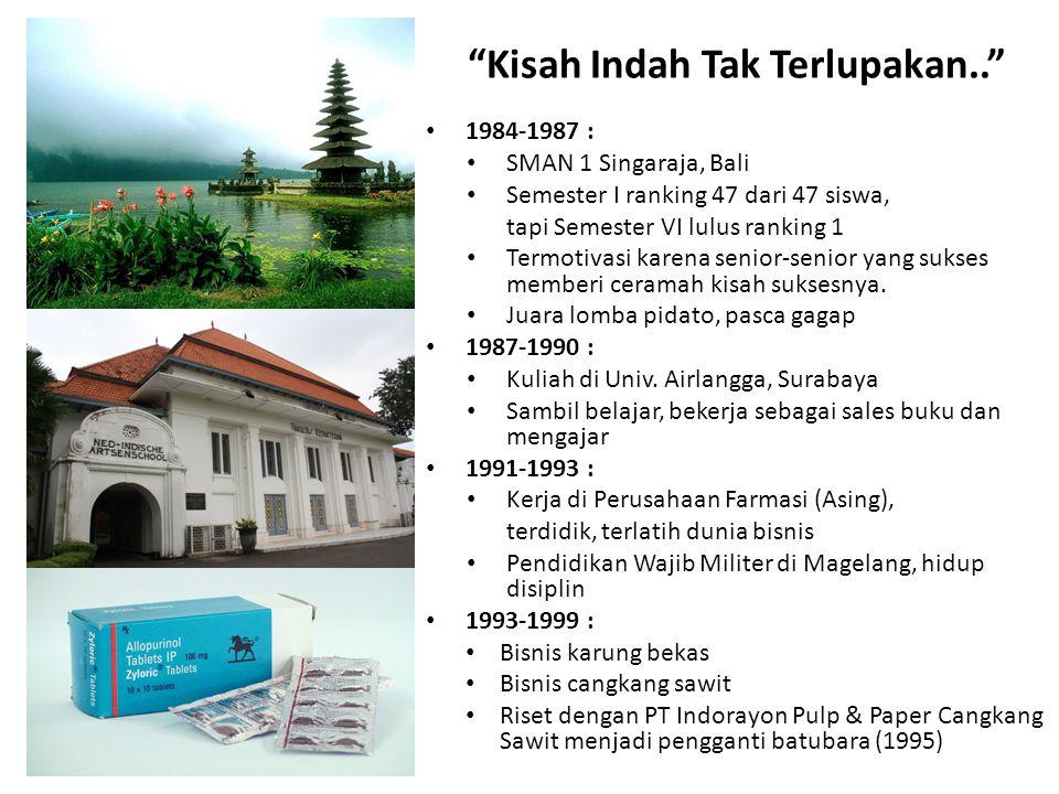 1984-1987 : SMAN 1 Singaraja, Bali Semester I ranking 47 dari 47 siswa, tapi Semester VI lulus ranking 1 Termotivasi karena senior-senior yang sukses