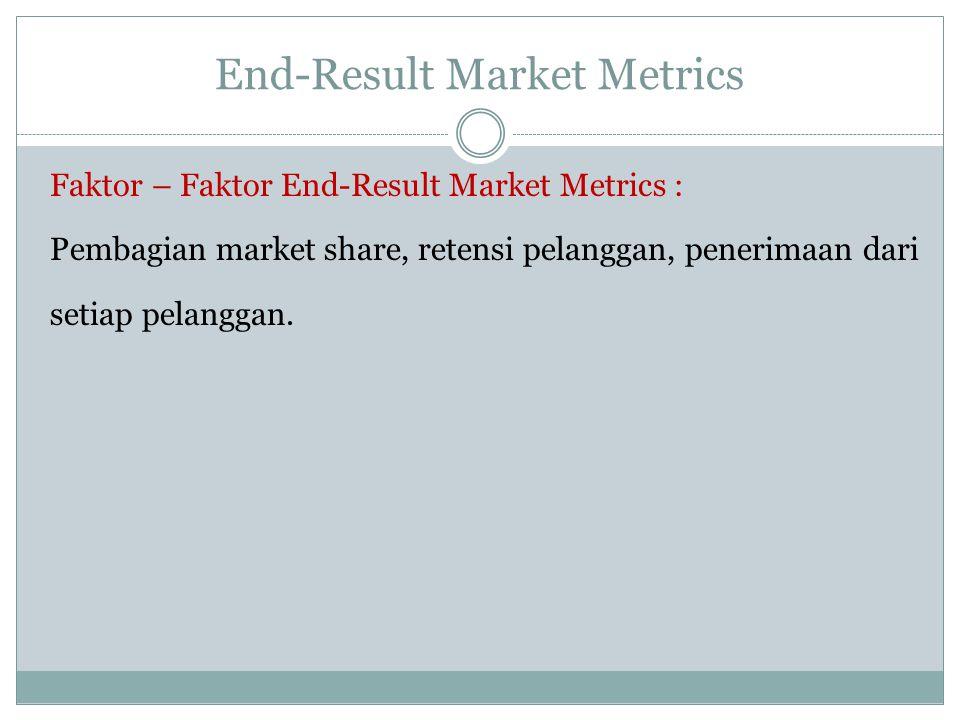 End-Result Market Metrics Faktor – Faktor End-Result Market Metrics : Pembagian market share, retensi pelanggan, penerimaan dari setiap pelanggan.