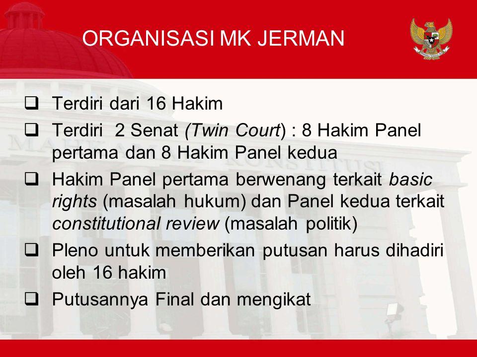ORGANISASI MK JERMAN  Terdiri dari 16 Hakim  Terdiri 2 Senat (Twin Court) : 8 Hakim Panel pertama dan 8 Hakim Panel kedua  Hakim Panel pertama berwenang terkait basic rights (masalah hukum) dan Panel kedua terkait constitutional review (masalah politik)  Pleno untuk memberikan putusan harus dihadiri oleh 16 hakim  Putusannya Final dan mengikat