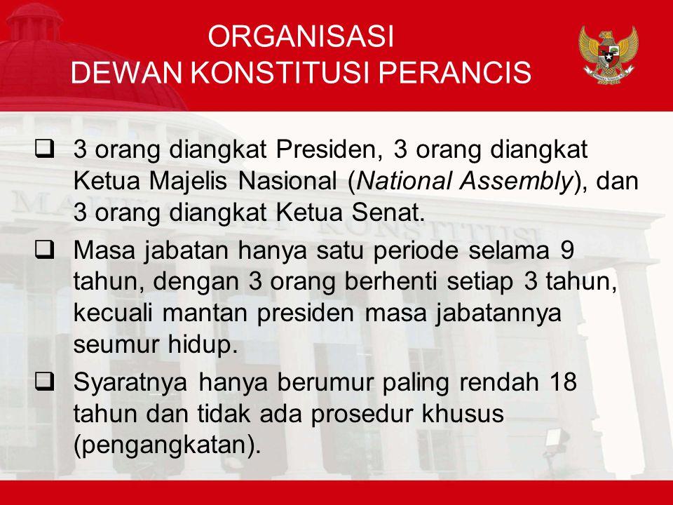 ORGANISASI DEWAN KONSTITUSI PERANCIS  3 orang diangkat Presiden, 3 orang diangkat Ketua Majelis Nasional (National Assembly), dan 3 orang diangkat Ketua Senat.