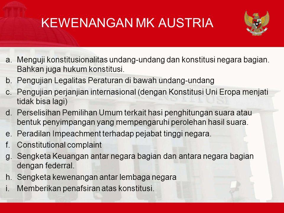 KEWENANGAN MK AUSTRIA a.Menguji konstitusionalitas undang-undang dan konstitusi negara bagian.
