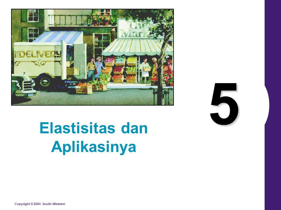Gambar 6 Elastisitas Harga Supply Copyright©2003 Southwestern/Thomson Learning (b) Inelastic Supply: Elasticity Is Less Than 1 110 $5 100 4 Quantity 0 1.