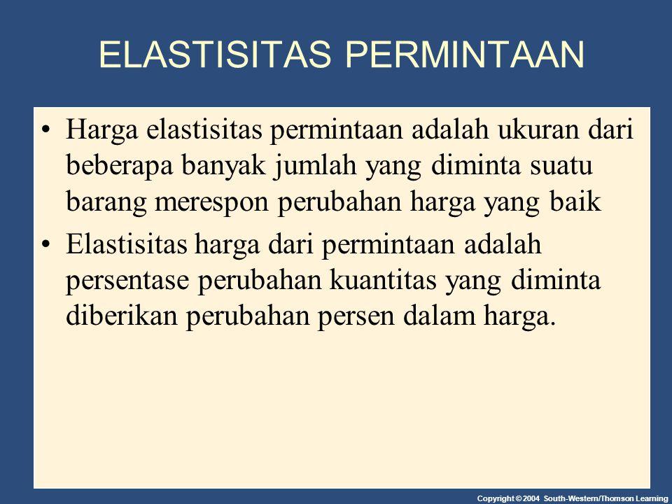 GAMBAR1 ELASTISITAS HARGA PERMINTAAN Copyright©2003 Southwestern/Thomson Learning (a) Perfectly Inelastic Demand: Elasticity Equals 0 $5 4 Quantity Demand 100 0 1.