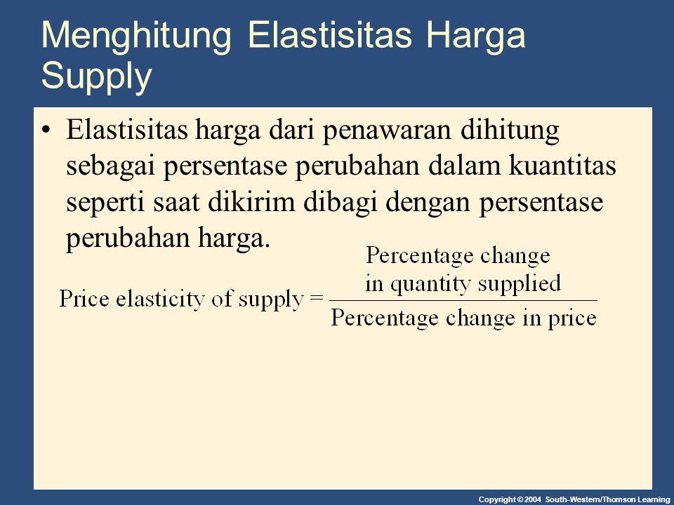 Copyright © 2004 South-Western/Thomson Learning Menghitung Elastisitas Harga Supply Elastisitas harga dari penawaran dihitung sebagai persentase perub