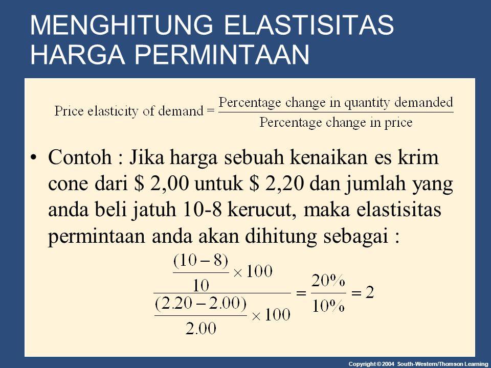 Copyright © 2004 South-Western/Thomson Learning Pendapatan Elastisitas Jenis Barang Barang Yang Normal Inferior Barang Pendapatan yang lebih tinggi meningkatkan kuantitas yang diminta untuk barang normal, tetapi menurunkan kuantitas yang diminta untuk barang inferior.