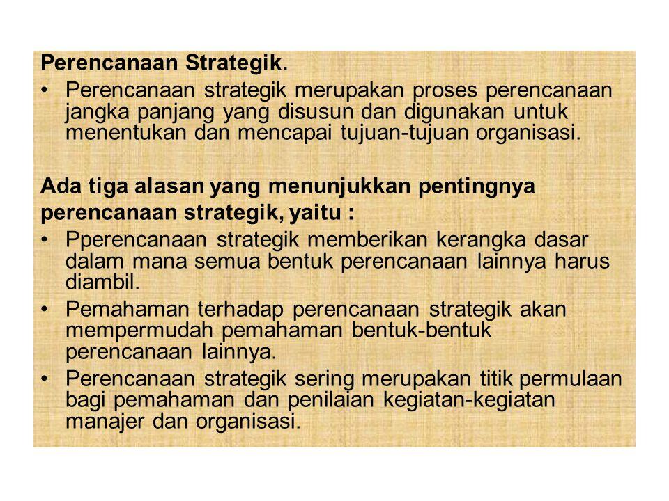 Perencanaan Strategik. Perencanaan strategik merupakan proses perencanaan jangka panjang yang disusun dan digunakan untuk menentukan dan mencapai tuju