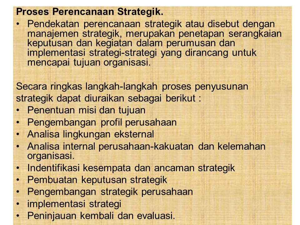 Proses Perencanaan Strategik. Pendekatan perencanaan strategik atau disebut dengan manajemen strategik, merupakan penetapan serangkaian keputusan dan