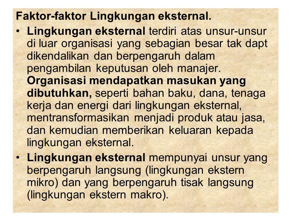 Faktor-faktor Lingkungan eksternal. Lingkungan eksternal terdiri atas unsur-unsur di luar organisasi yang sebagian besar tak dapt dikendalikan dan ber
