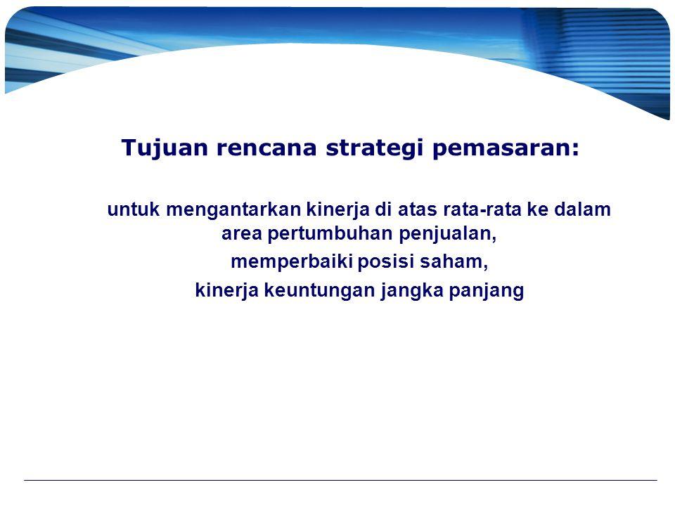 Tujuan rencana strategi pemasaran: untuk mengantarkan kinerja di atas rata-rata ke dalam area pertumbuhan penjualan, memperbaiki posisi saham, kinerja