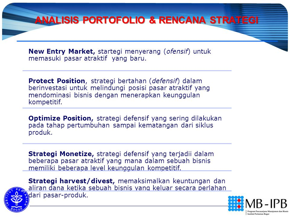 ANALISIS PORTOFOLIO & RENCANA STRATEGI ANALISIS PORTOFOLIO & RENCANA STRATEGI PEMASARAN New Entry Market, startegi menyerang (ofensif) untuk memasuki