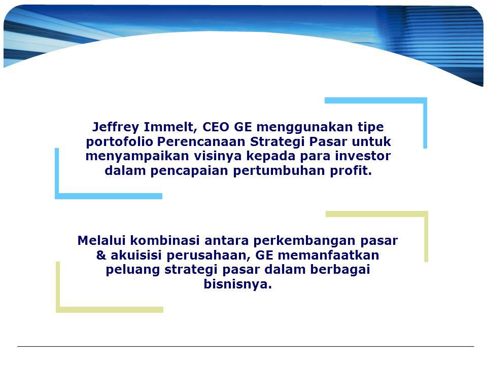 Jeffrey Immelt, CEO GE menggunakan tipe portofolio Perencanaan Strategi Pasar untuk menyampaikan visinya kepada para investor dalam pencapaian pertumb