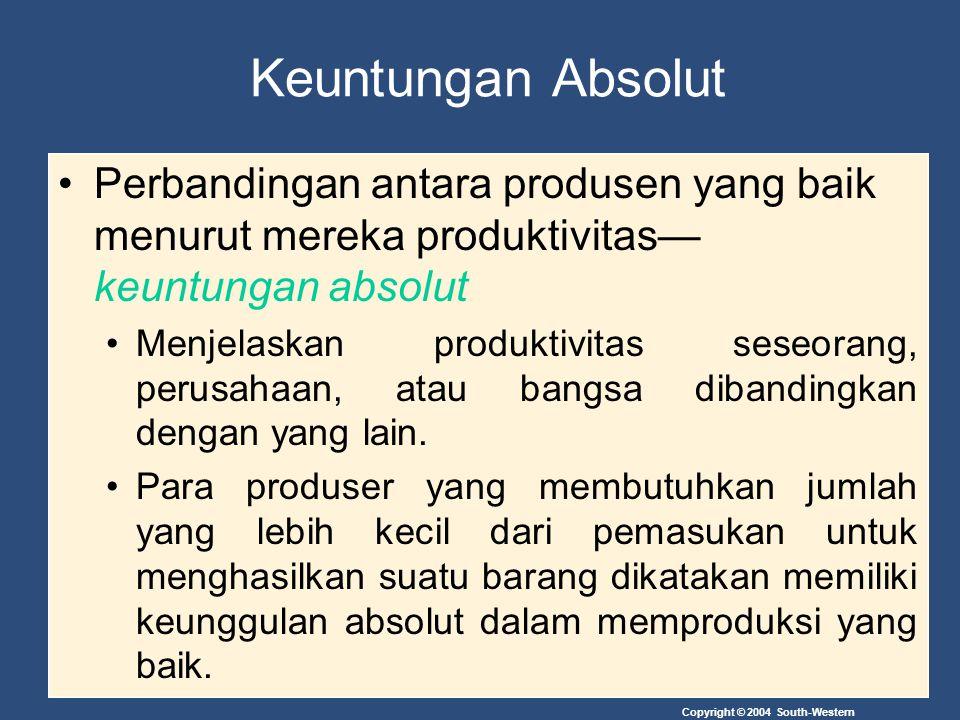 Copyright © 2004 South-Western Keuntungan Absolut Perbandingan antara produsen yang baik menurut mereka produktivitas— keuntungan absolut Menjelaskan