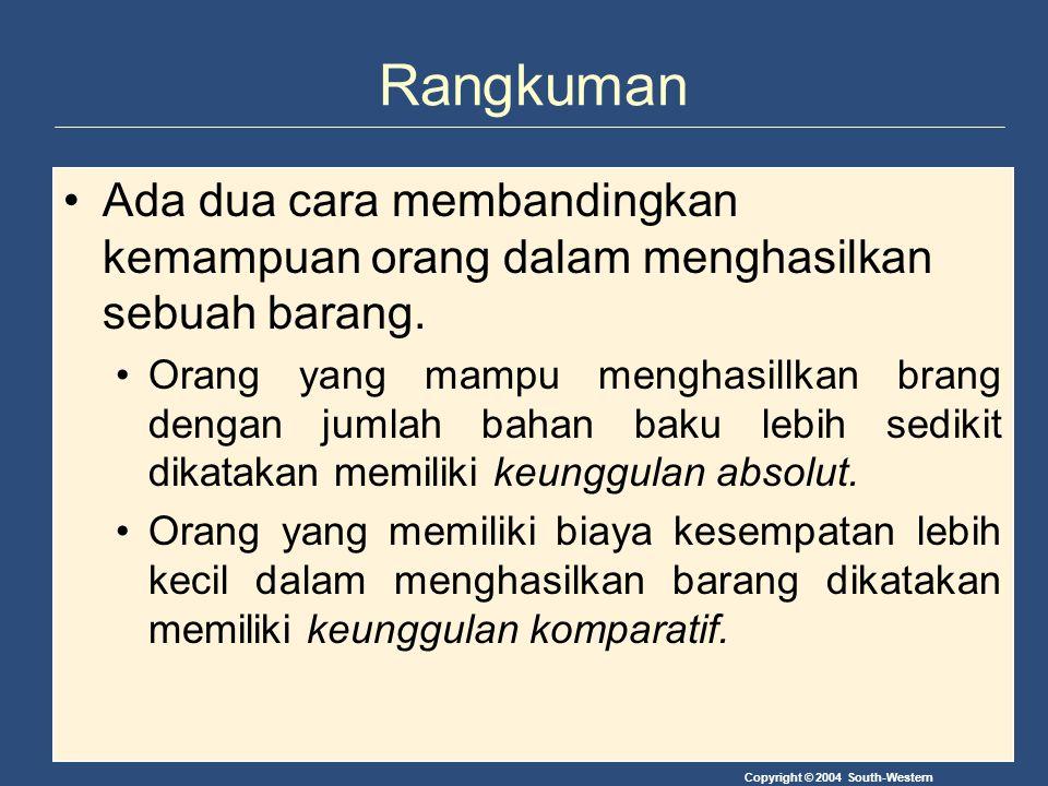 Copyright © 2004 South-Western Rangkuman Ada dua cara membandingkan kemampuan orang dalam menghasilkan sebuah barang. Orang yang mampu menghasillkan b