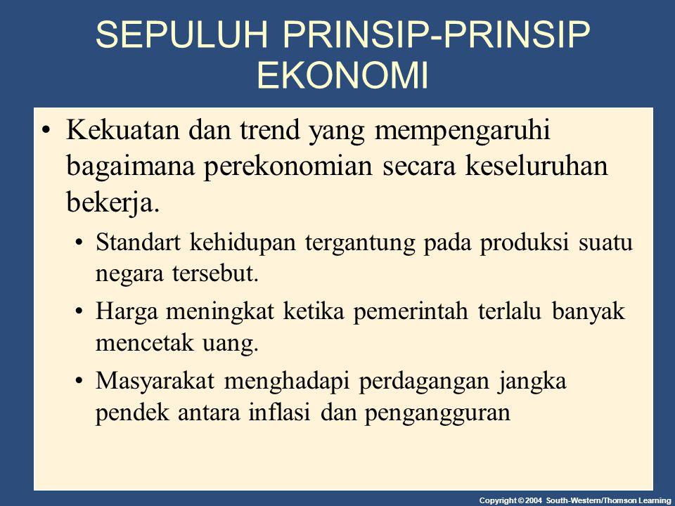 Copyright © 2004 South-Western/Thomson Learning SEPULUH PRINSIP-PRINSIP EKONOMI Kekuatan dan trend yang mempengaruhi bagaimana perekonomian secara keseluruhan bekerja.