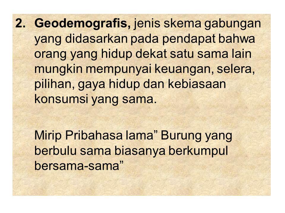 2.Geodemografis, jenis skema gabungan yang didasarkan pada pendapat bahwa orang yang hidup dekat satu sama lain mungkin mempunyai keuangan, selera, pi