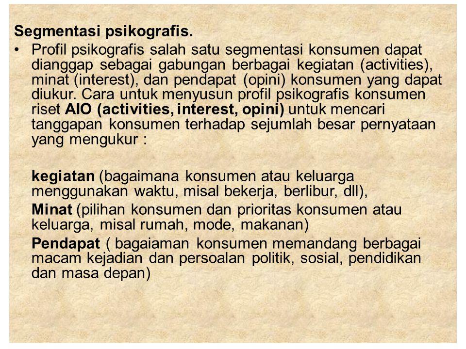Segmentasi psikografis. Profil psikografis salah satu segmentasi konsumen dapat dianggap sebagai gabungan berbagai kegiatan (activities), minat (inter