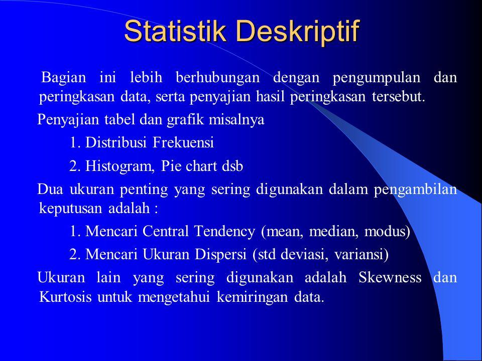 Statistik Deskriptif Bagian ini lebih berhubungan dengan pengumpulan dan peringkasan data, serta penyajian hasil peringkasan tersebut. Penyajian tabel