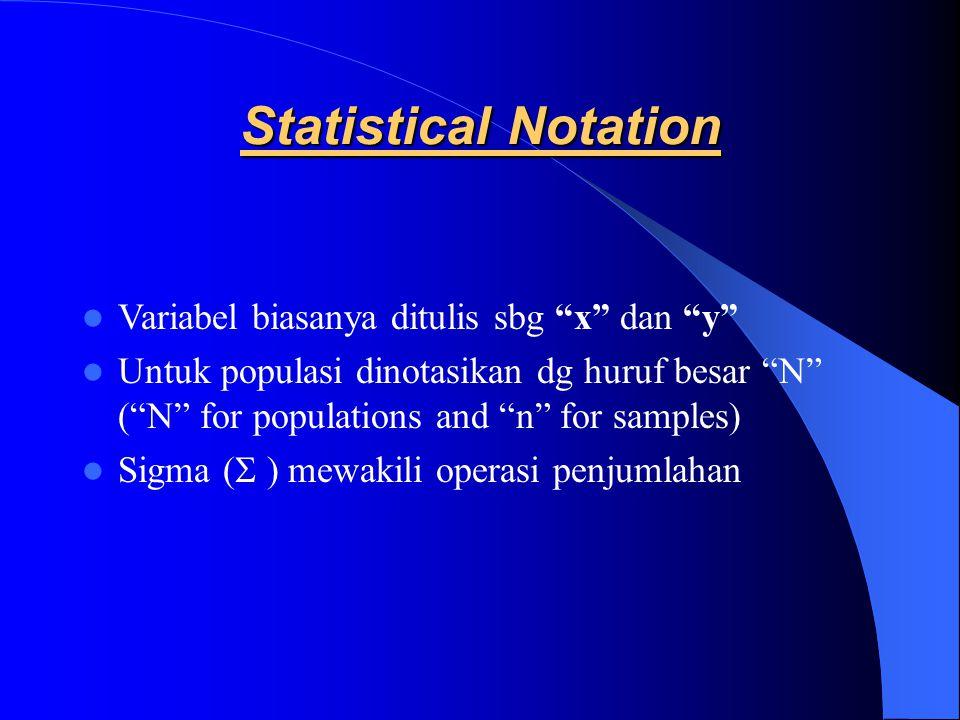 """Statistical Notation Variabel biasanya ditulis sbg """"x"""" dan """"y"""" Untuk populasi dinotasikan dg huruf besar """"N"""" (""""N"""" for populations and """"n"""" for samples)"""