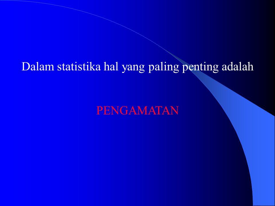 Dalam statistika hal yang paling penting adalah PENGAMATAN