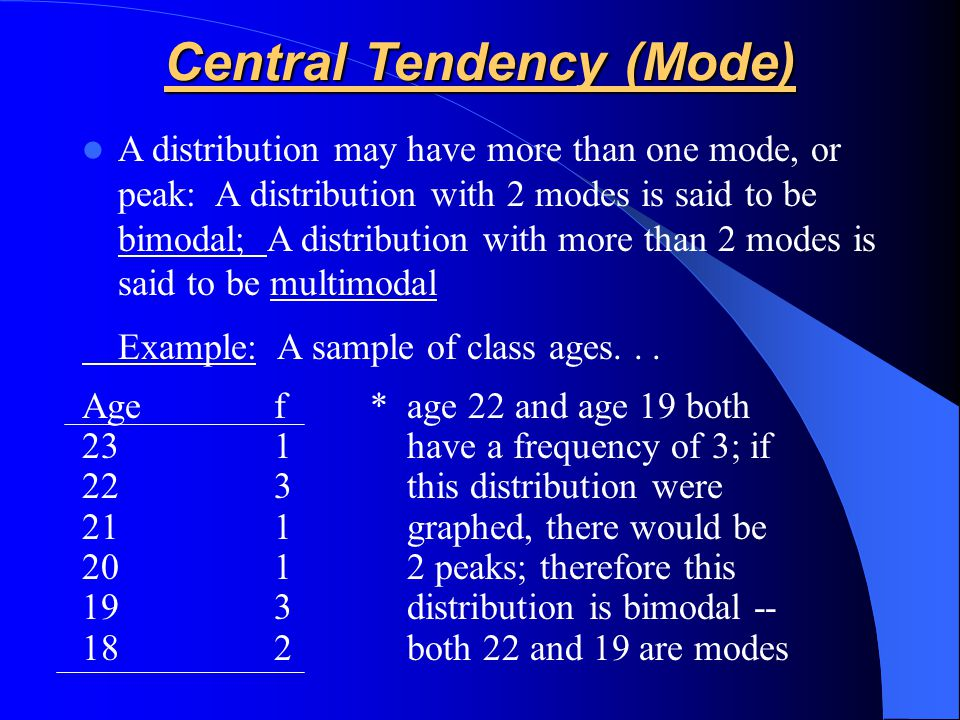 A distribution may have more than one mode, or peak: A distribution with 2 modes is said to be bimodal; A distribution with more than 2 modes is said to be multimodal Example: A sample of class ages...