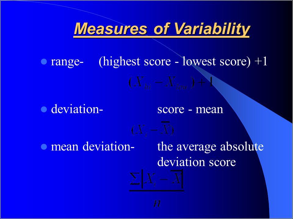 Measures of Variability range-(highest score - lowest score) +1 deviation-score - mean mean deviation- the average absolute deviation score