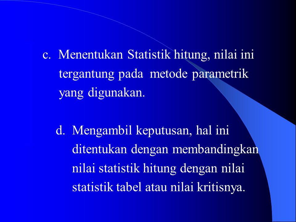 c. c. Menentukan Statistik hitung, nilai ini d. tergantung pada metode parametrik e. yang digunakan. b. d. Mengambil keputusan, hal ini ditentukan den