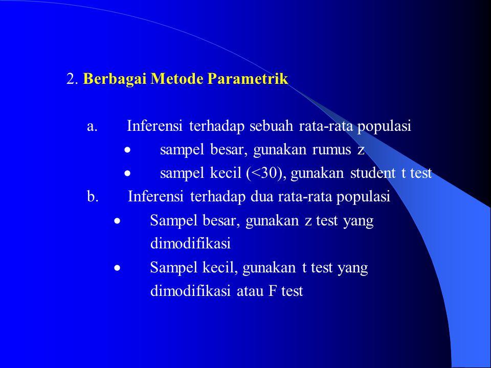 2. Berbagai Metode Parametrik a. Inferensi terhadap sebuah rata-rata populasi  sampel besar, gunakan rumus z 