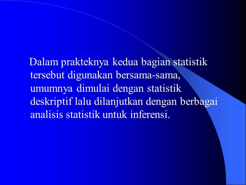Statistik Non-Parametrik Jika data yang ada tidak berdistribusi Normal, atau jumlah data sangat sedikit serta level data adalah nominal atau ordinal, maka perlu digunakan metode statistik alternatif yang tidak harus menggunakan suatu parameter tertentu misalnya Mean, STD Deviasi dll.