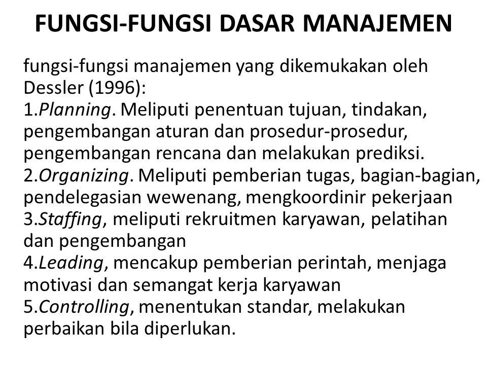 FUNGSI-FUNGSI DASAR MANAJEMEN fungsi-fungsi manajemen yang dikemukakan oleh Dessler (1996): 1.Planning. Meliputi penentuan tujuan, tindakan, pengemban