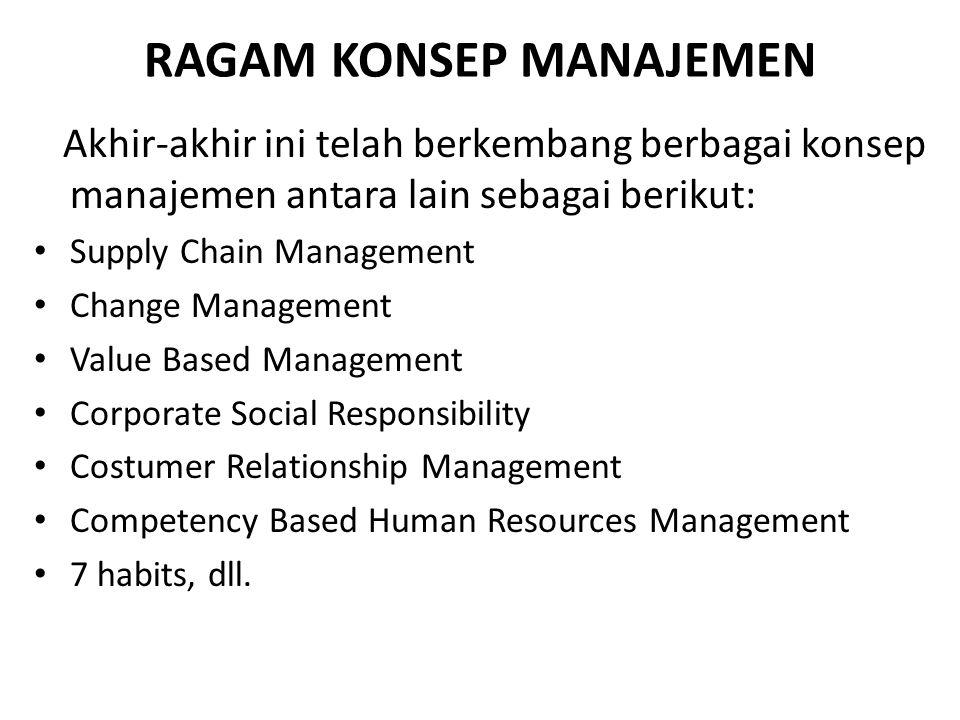 RAGAM KONSEP MANAJEMEN Akhir-akhir ini telah berkembang berbagai konsep manajemen antara lain sebagai berikut: Supply Chain Management Change Manageme