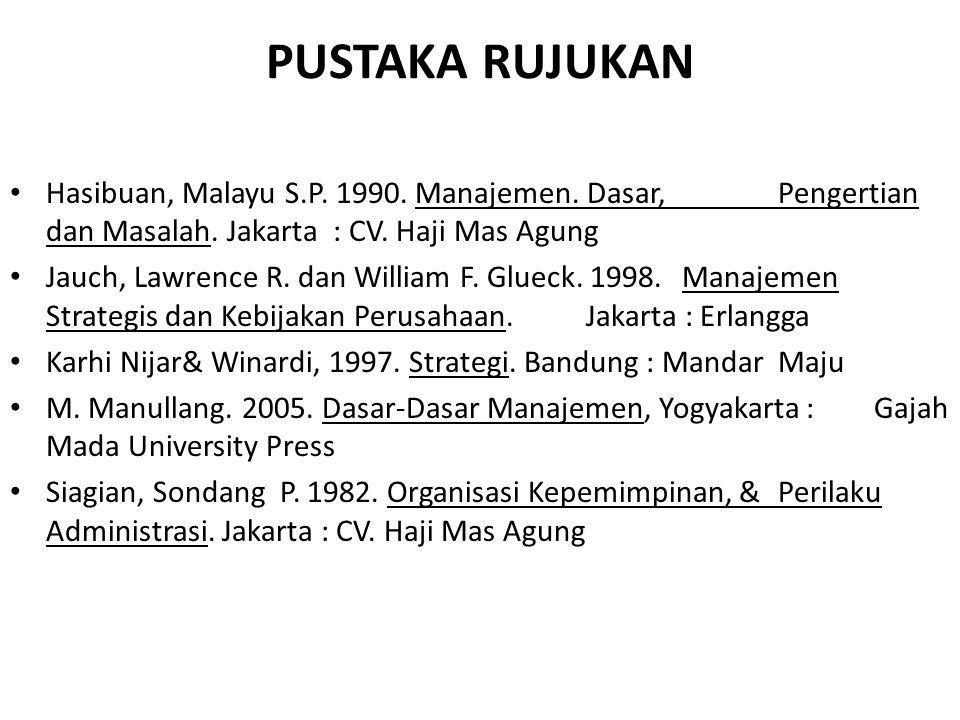 PUSTAKA RUJUKAN Hasibuan, Malayu S.P. 1990. Manajemen. Dasar, Pengertian dan Masalah. Jakarta : CV. Haji Mas Agung Jauch, Lawrence R. dan William F. G