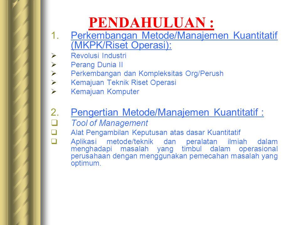 MATERI : 1.Pendahuluan 2.Programasi Linier (Linear Programming) 3.Metode Transportasi (Transportation) 4.Metode Penugasan (Assignment) 5.Analisis Jari