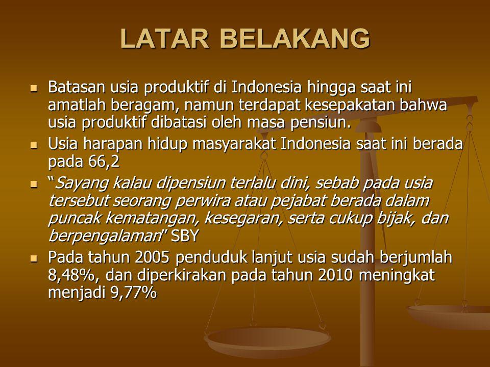 LATAR BELAKANG Batasan usia produktif di Indonesia hingga saat ini amatlah beragam, namun terdapat kesepakatan bahwa usia produktif dibatasi oleh masa