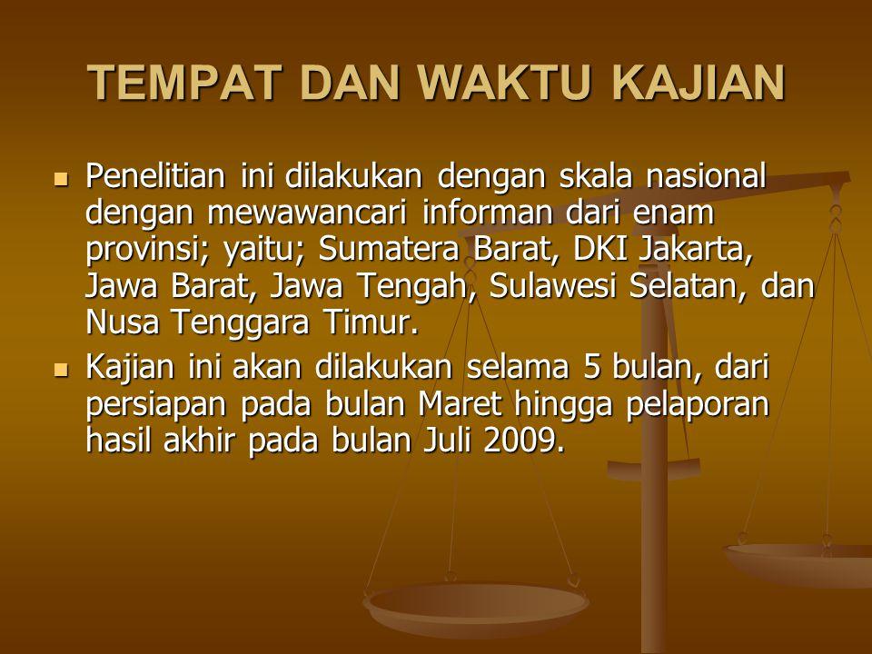 TEMPAT DAN WAKTU KAJIAN Penelitian ini dilakukan dengan skala nasional dengan mewawancari informan dari enam provinsi; yaitu; Sumatera Barat, DKI Jakarta, Jawa Barat, Jawa Tengah, Sulawesi Selatan, dan Nusa Tenggara Timur.