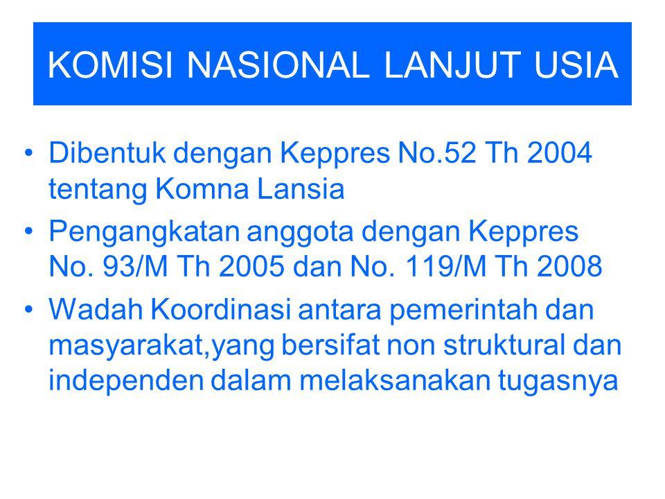 KOMISI NASIONAL LANJUT USIA Dibentuk dengan Keppres No.52 Th 2004 tentang Komna Lansia Pengangkatan anggota dengan Keppres No. 93/M Th 2005 dan No. 11