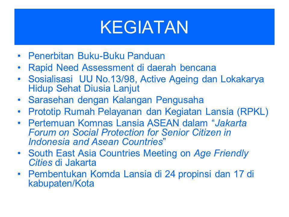 KEGIATAN Penerbitan Buku-Buku Panduan Rapid Need Assessment di daerah bencana Sosialisasi UU No.13/98, Active Ageing dan Lokakarya Hidup Sehat Diusia