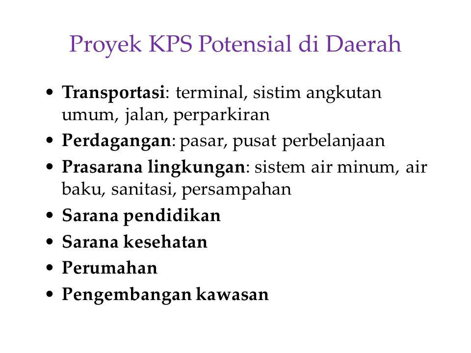 Proyek KPS Potensial di Daerah Transportasi: terminal, sistim angkutan umum, jalan, perparkiran Perdagangan: pasar, pusat perbelanjaan Prasarana lingk