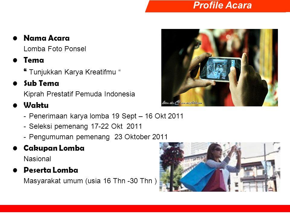 Format Acara & Kriteria Tahap I, Penerimaah Peserta Lomba Karya Foto 19 Sep – 16 Okt 2011 Peserta mengirimkan karya fotonya kepada panitia dengan kriteria :  Jenis Foto BW/COLOR.
