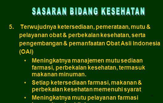 11 5. Terwujudnya ketersediaan, pemerataan, mutu & pelayanan obat & perbekalan kesehatan, serta pengembangan & pemanfaatan Obat Asli Indonesia (OAI) M