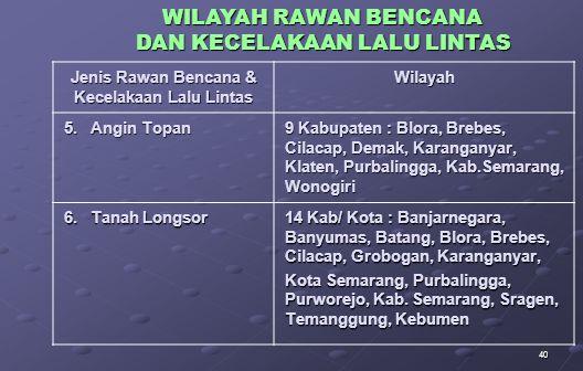 40 Jenis Rawan Bencana & Kecelakaan Lalu Lintas Wilayah 5.
