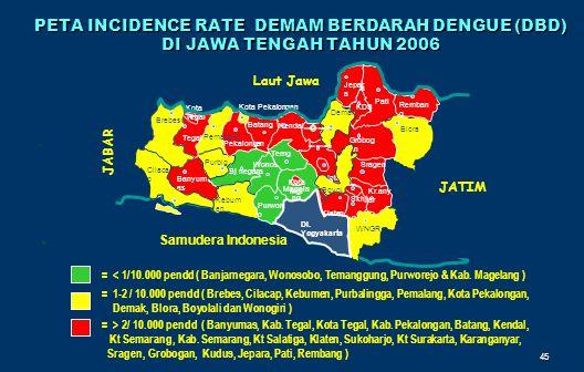 45 JATIM PETA INCIDENCE RATE DEMAM BERDARAH DENGUE (DBD) DI JAWA TENGAH TAHUN 2006 = < 1/10.000 pendd ( Banjarnegara, Wonosobo, Temanggung, Purworejo