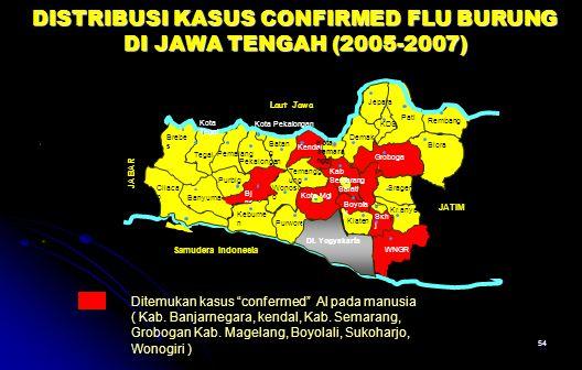 54. DISTRIBUSI KASUS CONFIRMED FLU BURUNG DI JAWA TENGAH (2005-2007) Salatig a Klaten SRKSRK Magel ang Banyuma s Bj negara Wonosob o Temangg ung Kenda