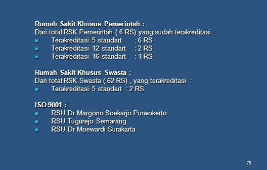 75 Rumah Sakit Khusus Pemerintah : Dari total RSK Pemerintah ( 6 RS) yang sudah terakreditasi : Terakreditasi 5 standart: 6 RS Terakreditasi 5 standar