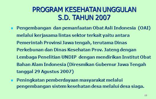 80 Pengembangan dan pemanfaatan Obat Asli Indonesia (OAI) melalui kerjasama lintas sektor terkait yaitu antara Pemerintah Provinsi Jawa tengah, terutama Dinas Perkebunan dan Dinas Kesehatan Prov.
