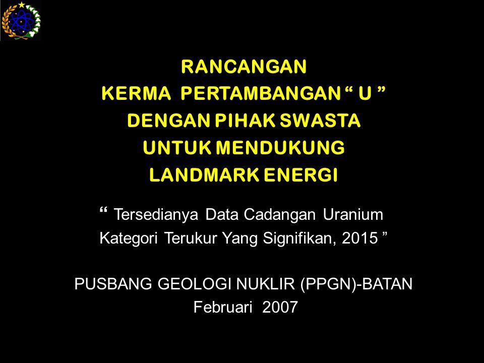 RANCANGAN KERMA PERTAMBANGAN U DENGAN PIHAK SWASTA UNTUK MENDUKUNG LANDMARK ENERGI Tersedianya Data Cadangan Uranium Kategori Terukur Yang Signifikan, 2015 PUSBANG GEOLOGI NUKLIR (PPGN)-BATAN Februari 2007