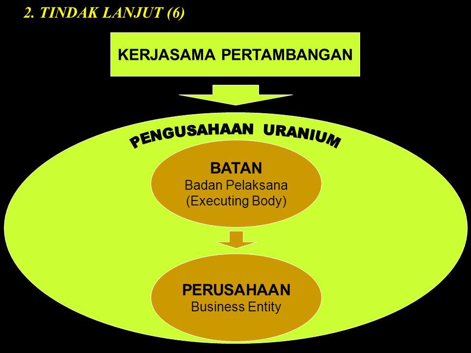PERUSAHAAN Business Entity BATAN Badan Pelaksana (Executing Body) KERJASAMA PERTAMBANGAN 2.