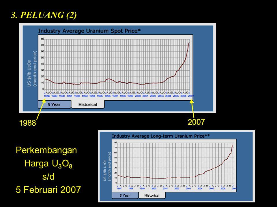 Perkembangan Harga U 3 O 8 s/d 5 Februari 2007 3. PELUANG (2) 1988 2007