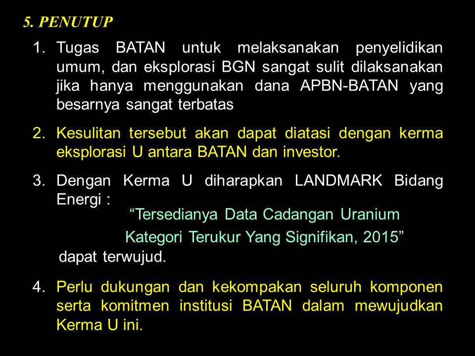 5. PENUTUP 1.Tugas BATAN untuk melaksanakan penyelidikan umum, dan eksplorasi BGN sangat sulit dilaksanakan jika hanya menggunakan dana APBN-BATAN yan