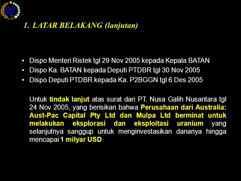 Dispo Menteri Ristek tgl 29 Nov 2005 kepada Kepala BATAN Dispo Ka.